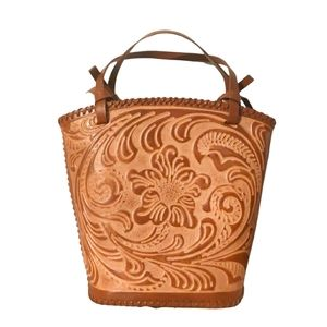Vintage tooled leather Jeanne Lottie bucket bag